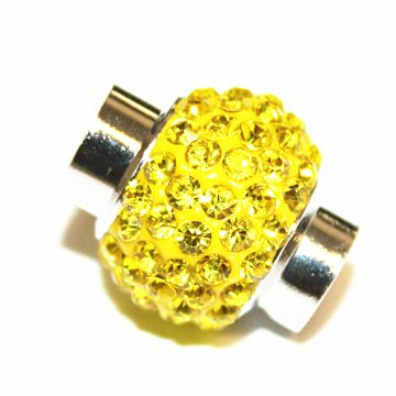 7mm - 17mm x 14mm - Bright yellow stone pave crystal magnetic clasps - rhodium